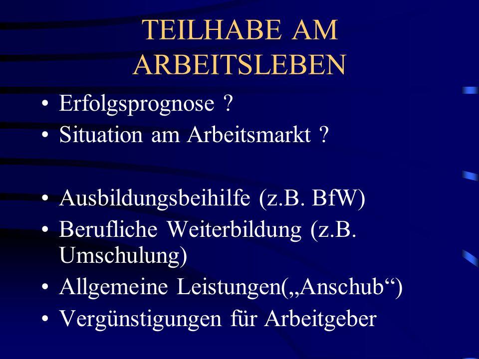 TEILHABE AM ARBEITSLEBEN