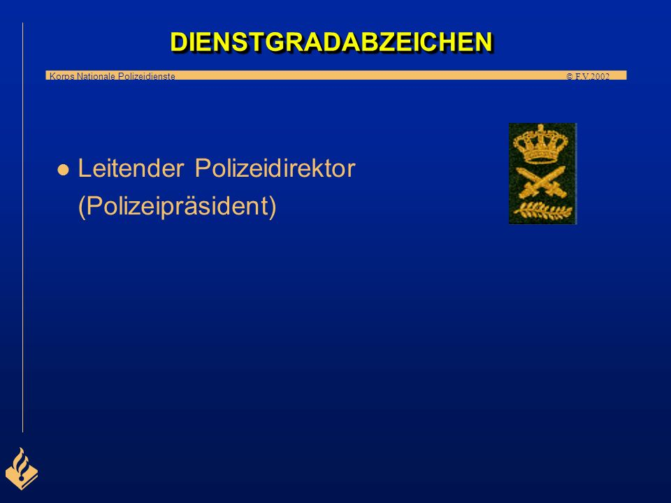 DIENSTGRADABZEICHEN Leitender Polizeidirektor (Polizeipräsident)