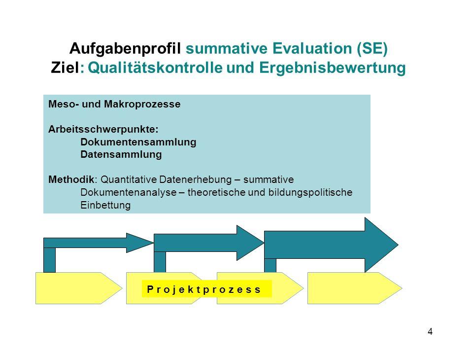 Aufgabenprofil summative Evaluation (SE) Ziel: Qualitätskontrolle und Ergebnisbewertung