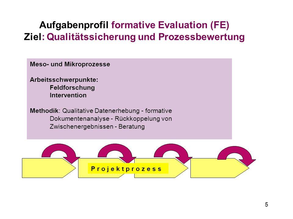 Aufgabenprofil formative Evaluation (FE) Ziel: Qualitätssicherung und Prozessbewertung