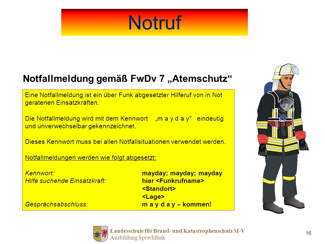 "Notruf Notfallmeldung gemäß FwDv 7 ""Atemschutz"