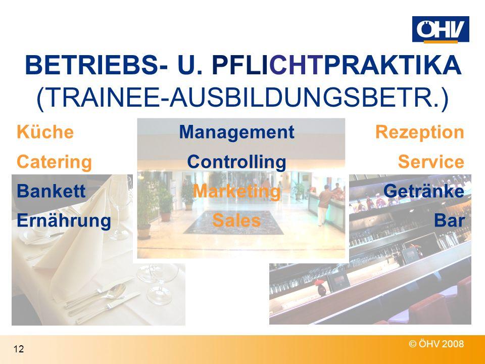 BETRIEBS- U. PFLICHTPRAKTIKA (TRAINEE-AUSBILDUNGSBETR.)