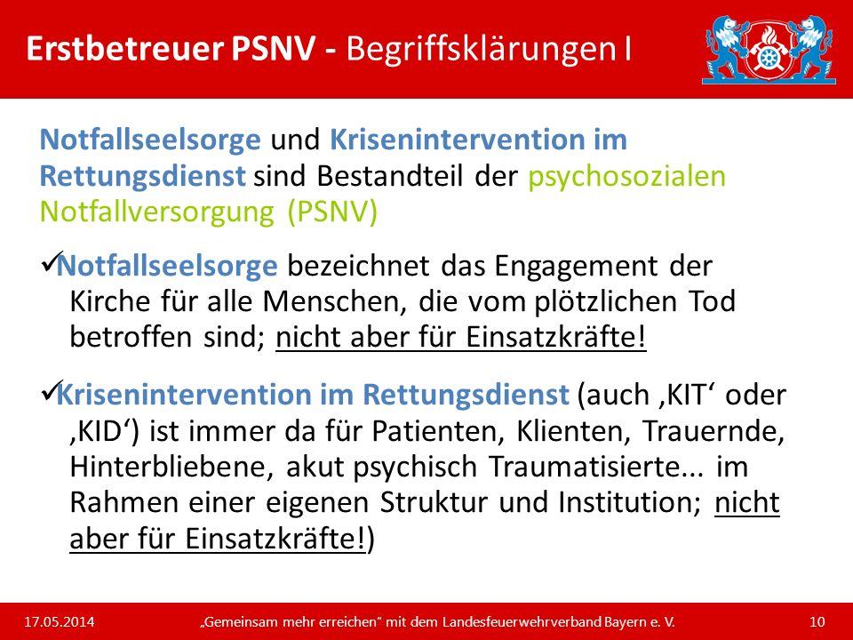 Erstbetreuer PSNV - Begriffsklärungen I