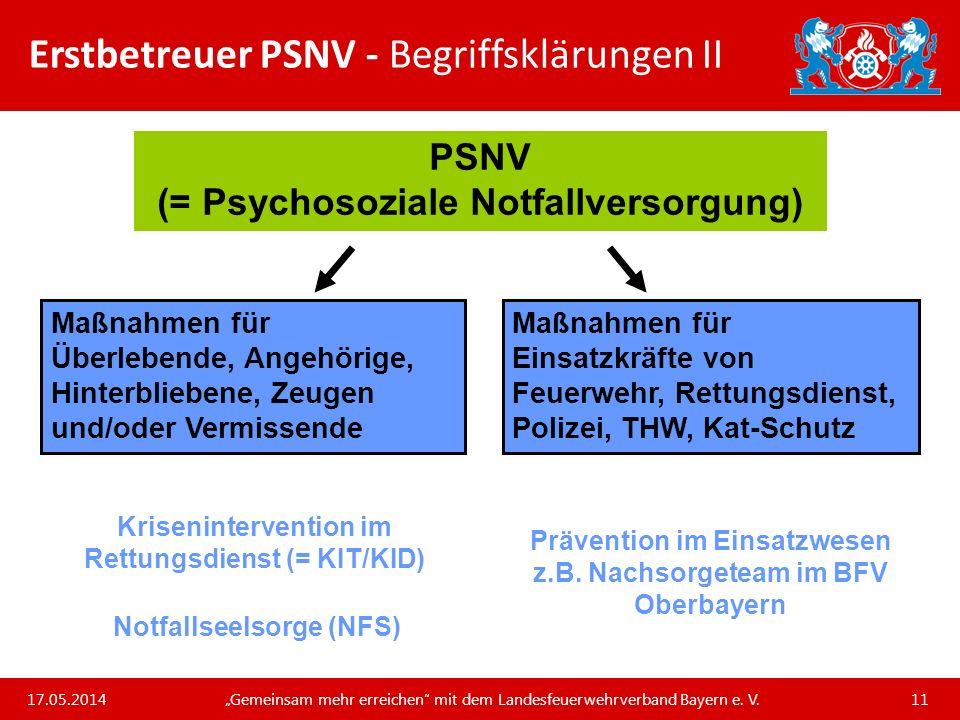 Erstbetreuer PSNV - Begriffsklärungen II