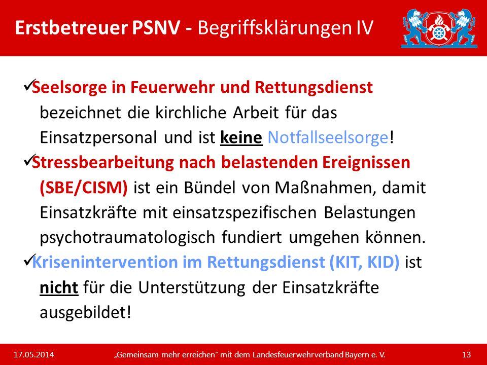 Erstbetreuer PSNV - Begriffsklärungen IV