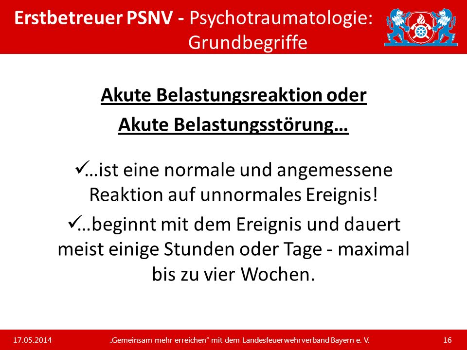 Erstbetreuer PSNV - Psychotraumatologie: Grundbegriffe