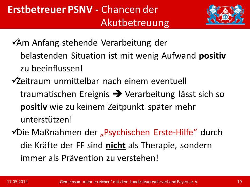 Erstbetreuer PSNV - Chancen der Akutbetreuung