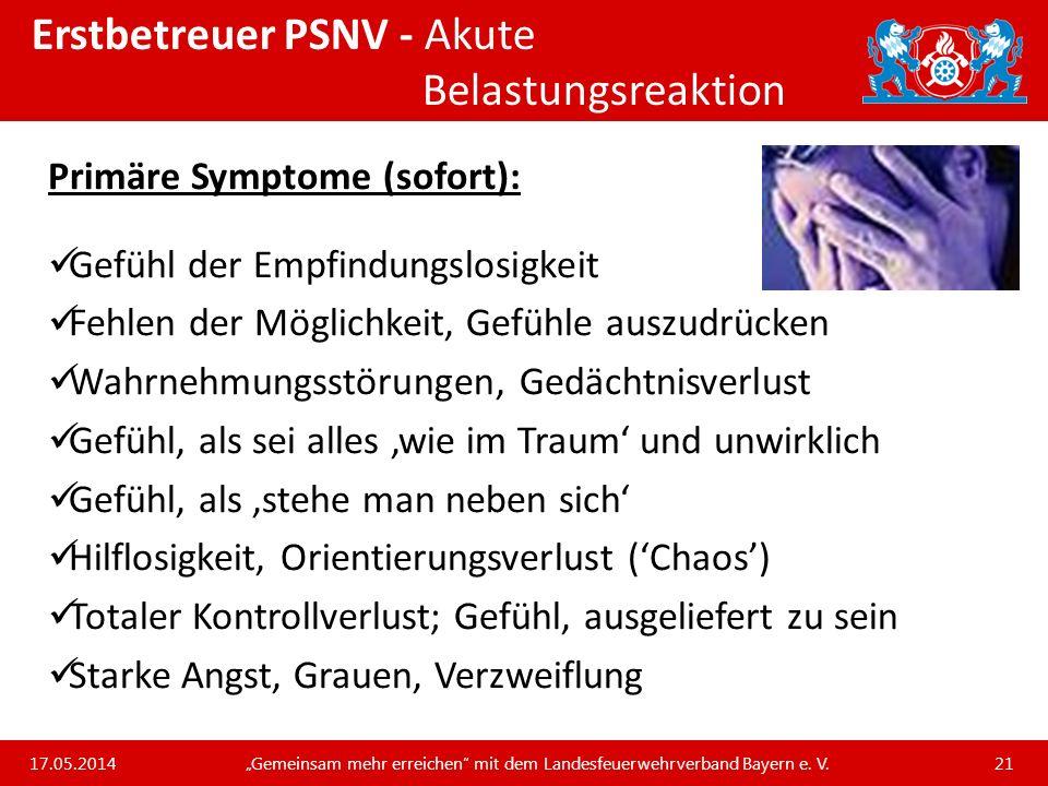 Erstbetreuer PSNV - Akute Belastungsreaktion