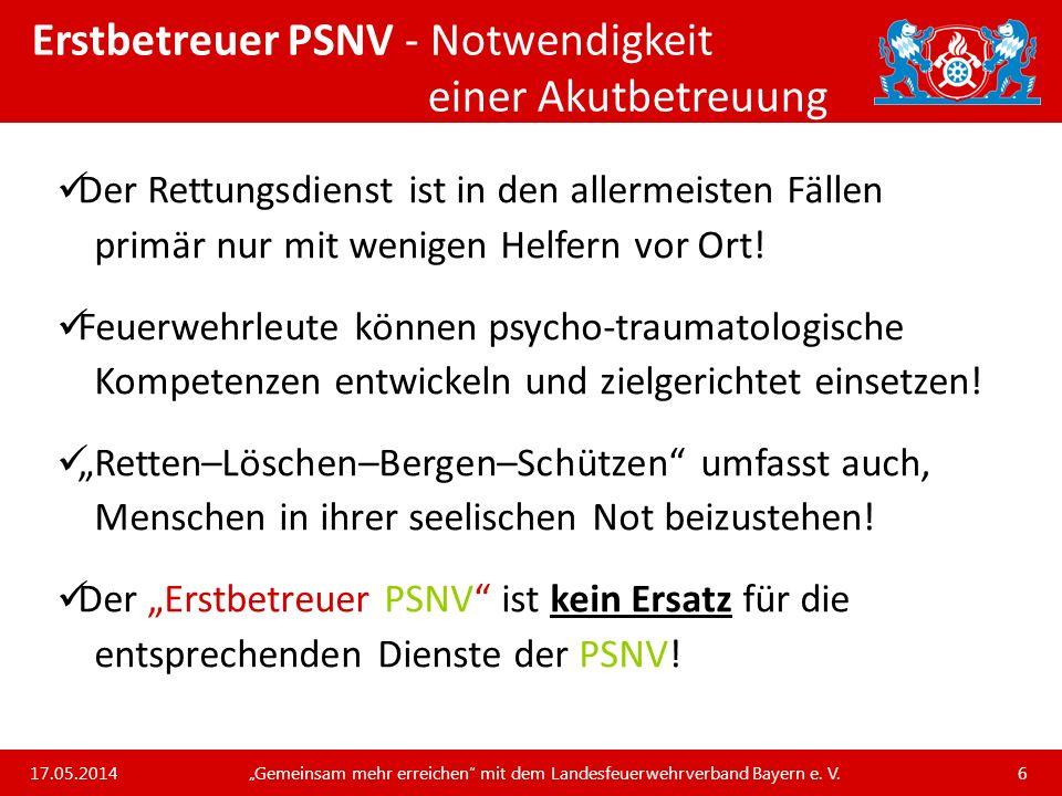 Erstbetreuer PSNV - Notwendigkeit einer Akutbetreuung