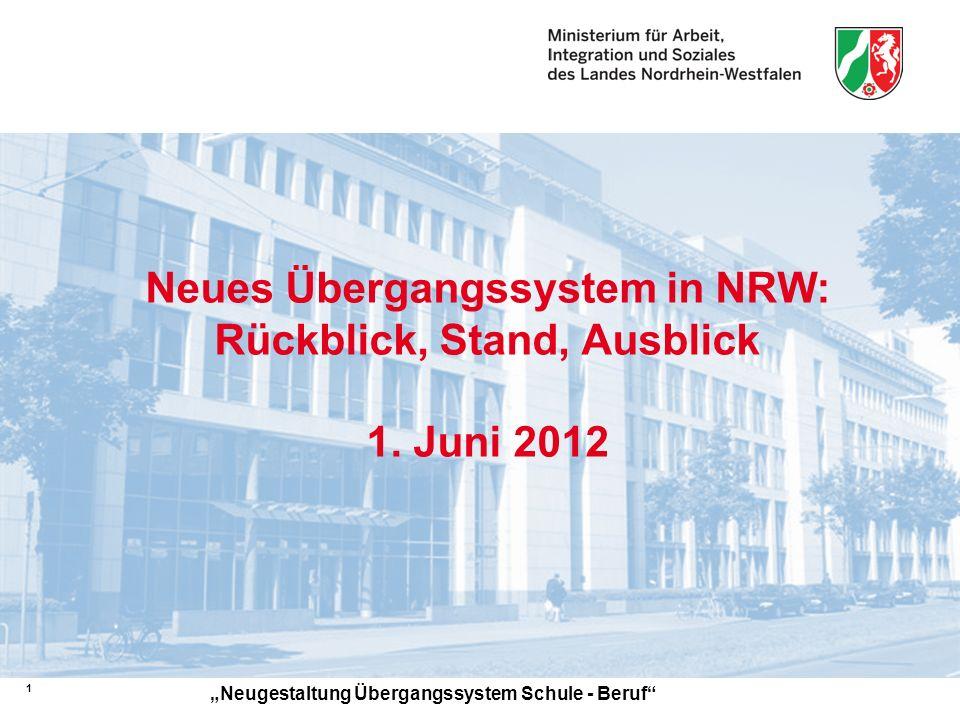 Neues Übergangssystem in NRW: Rückblick, Stand, Ausblick 1. Juni 2012