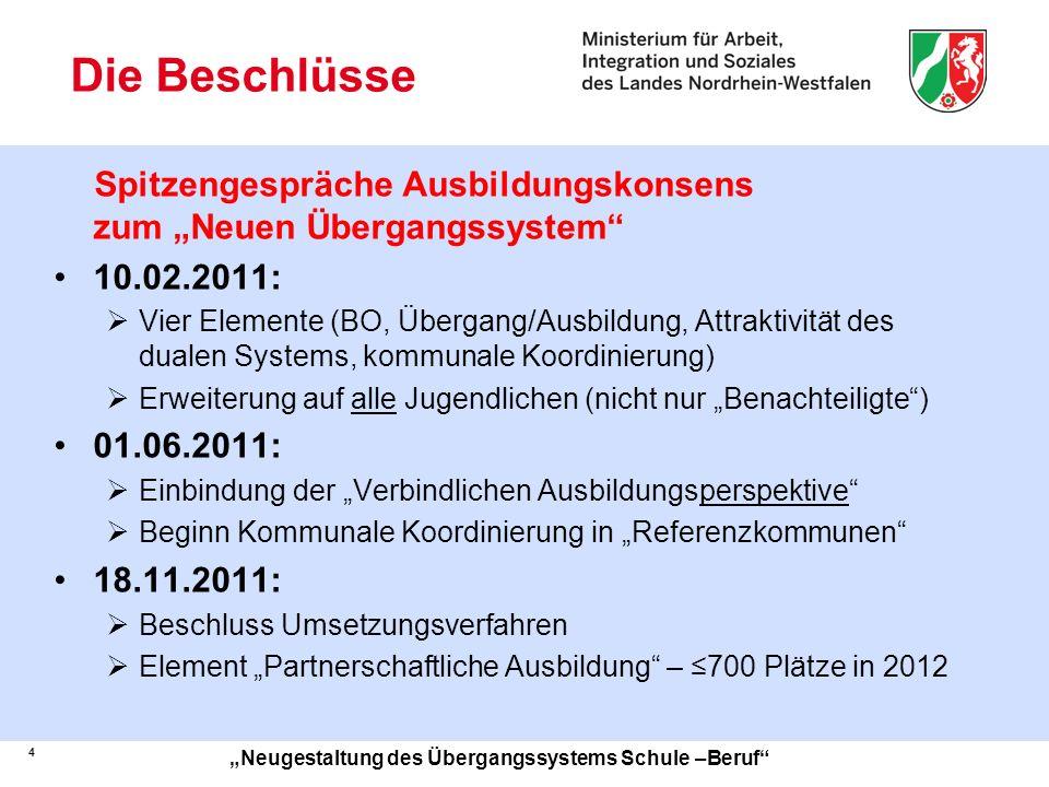 """Die Beschlüsse Spitzengespräche Ausbildungskonsens zum """"Neuen Übergangssystem 10.02.2011:"""