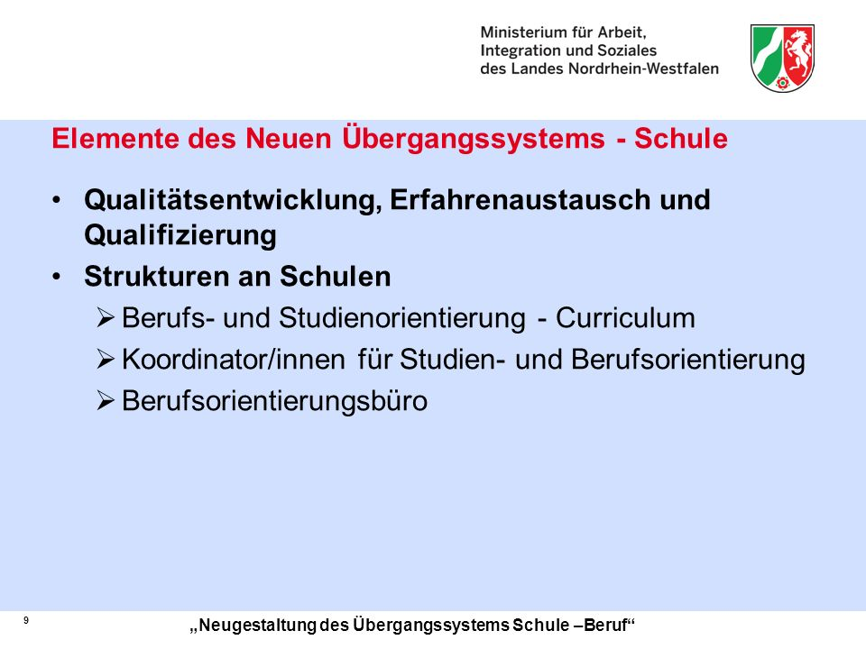 Elemente des Neuen Übergangssystems - Schule