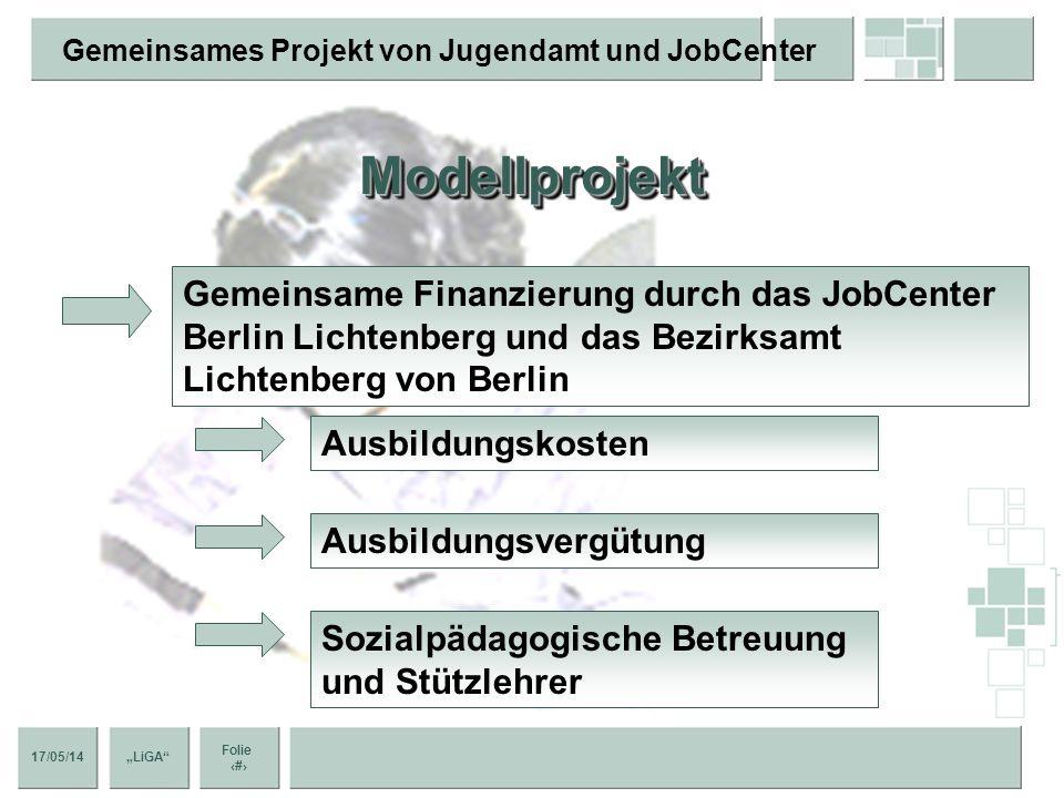 Modellprojekt Gemeinsame Finanzierung durch das JobCenter Berlin Lichtenberg und das Bezirksamt Lichtenberg von Berlin.