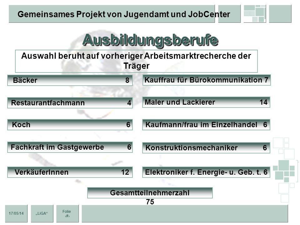Ausbildungsberufe Auswahl beruht auf vorheriger Arbeitsmarktrecherche der Träger. Bäcker 8.