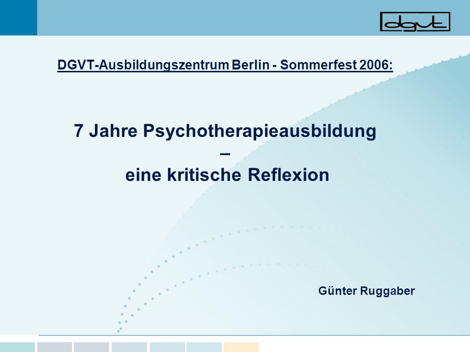 7 Jahre Psychotherapieausbildung – eine kritische Reflexion
