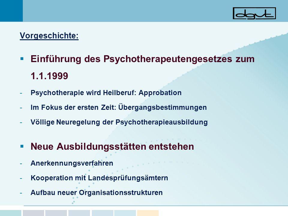 Einführung des Psychotherapeutengesetzes zum 1.1.1999