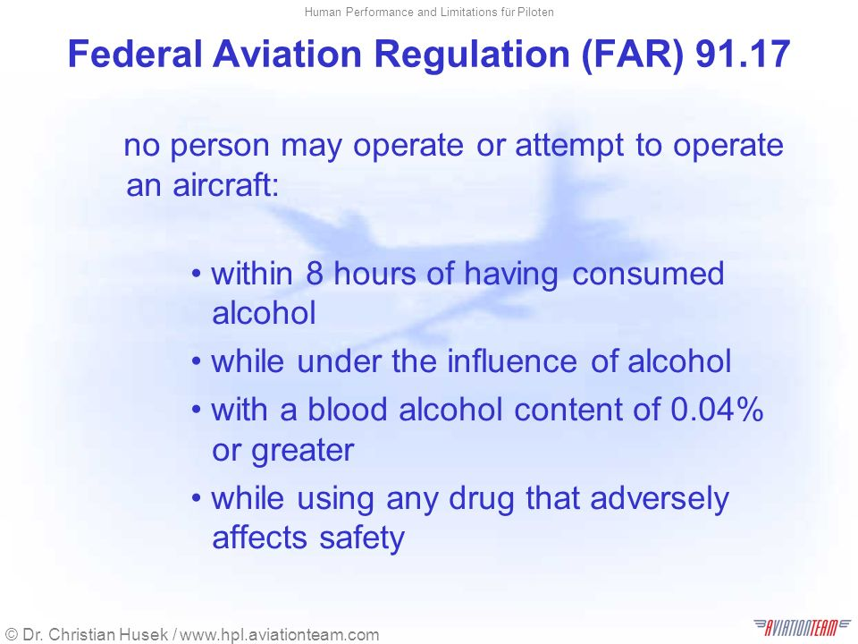 Federal Aviation Regulation (FAR) 91.17