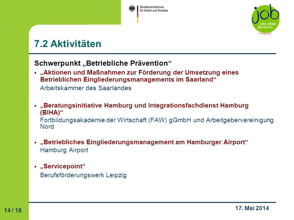 """7.2 Aktivitäten Schwerpunkt """"Betriebliche Prävention"""
