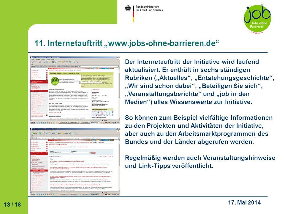 """11. Internetauftritt """"www.jobs-ohne-barrieren.de"""