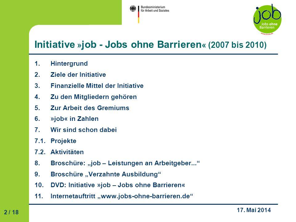 Initiative »job - Jobs ohne Barrieren« (2007 bis 2010)