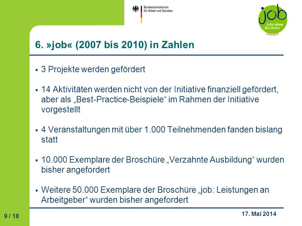 6. »job« (2007 bis 2010) in Zahlen 3 Projekte werden gefördert