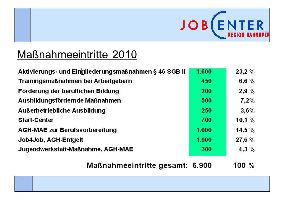 Maßnahmeeintritte 2010