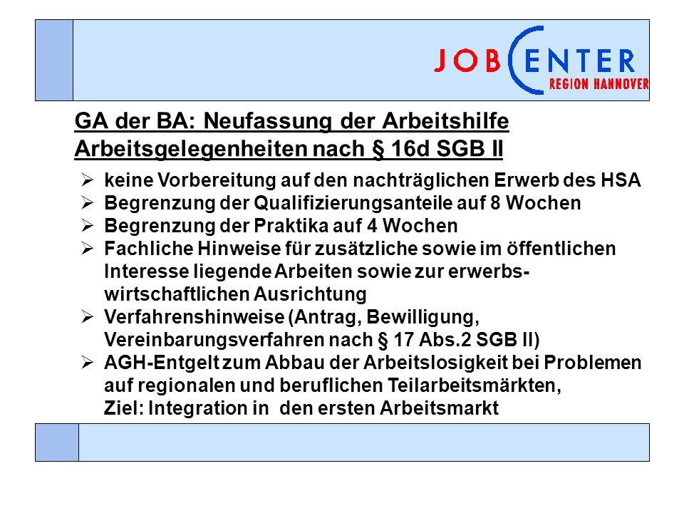 GA der BA: Neufassung der Arbeitshilfe Arbeitsgelegenheiten nach § 16d SGB II