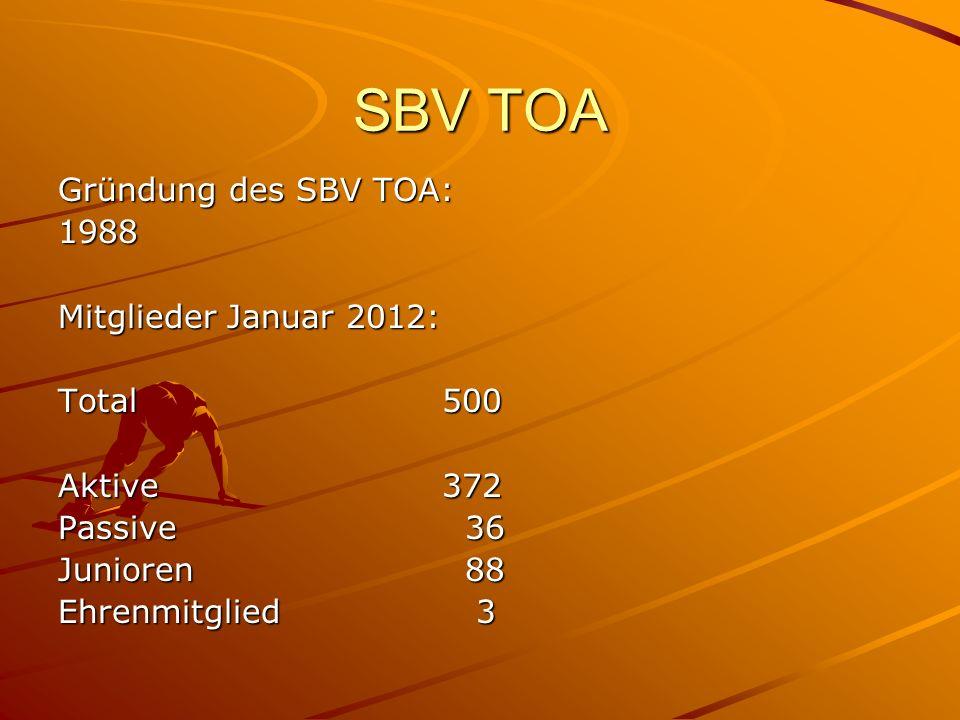 SBV TOA Gründung des SBV TOA: 1988 Mitglieder Januar 2012: Total 500