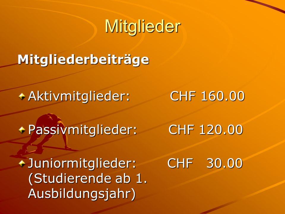 Mitglieder Mitgliederbeiträge Aktivmitglieder: CHF 160.00