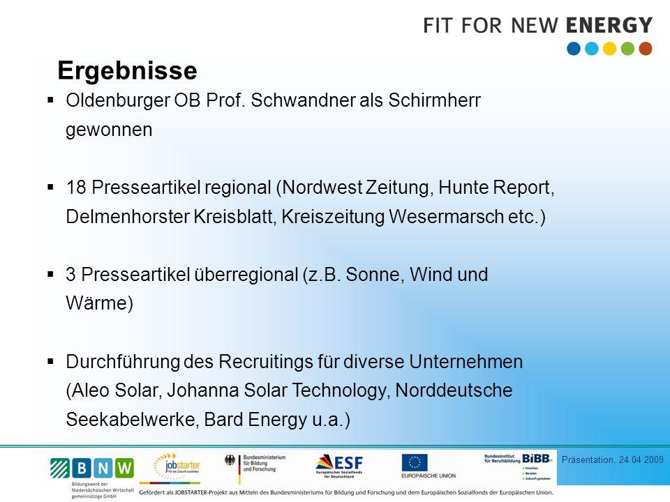 Ergebnisse Oldenburger OB Prof. Schwandner als Schirmherr gewonnen