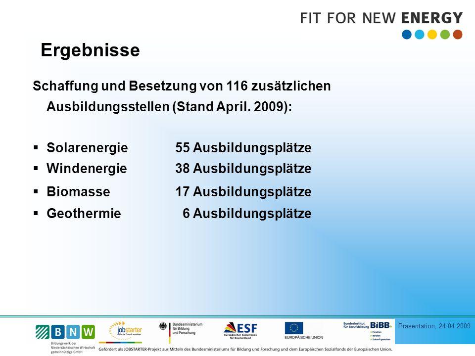 Ergebnisse Schaffung und Besetzung von 116 zusätzlichen Ausbildungsstellen (Stand April. 2009): Solarenergie 55 Ausbildungsplätze.