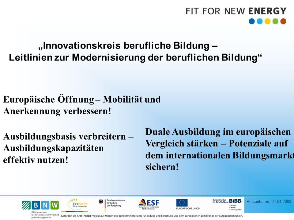 """""""Innovationskreis berufliche Bildung – Leitlinien zur Modernisierung der beruflichen Bildung"""