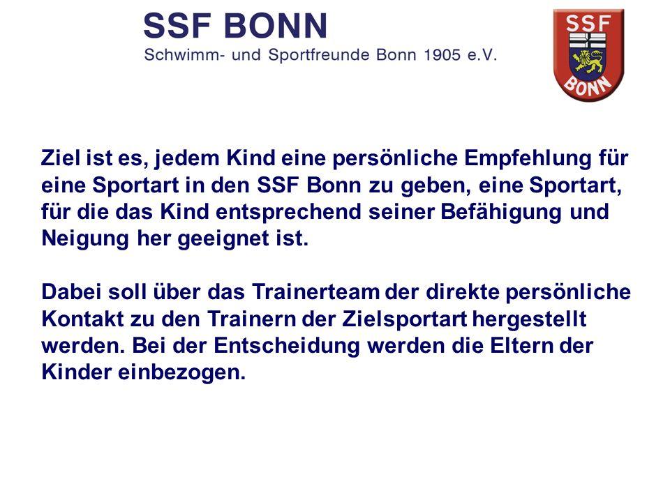 Ziel ist es, jedem Kind eine persönliche Empfehlung für eine Sportart in den SSF Bonn zu geben, eine Sportart, für die das Kind entsprechend seiner Befähigung und Neigung her geeignet ist.