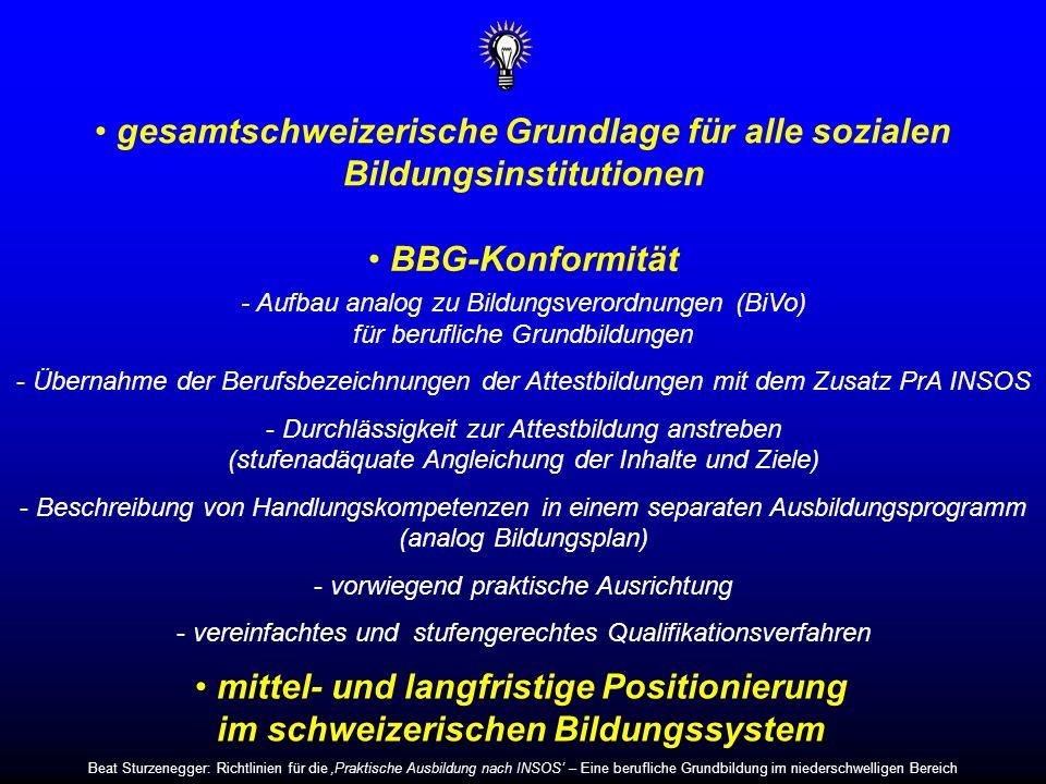 gesamtschweizerische Grundlage für alle sozialen Bildungsinstitutionen