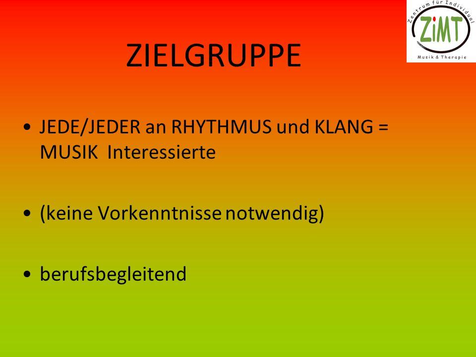 ZIELGRUPPE JEDE/JEDER an RHYTHMUS und KLANG = MUSIK Interessierte