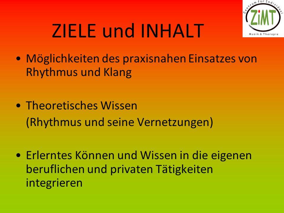 ZIELE und INHALT Möglichkeiten des praxisnahen Einsatzes von Rhythmus und Klang. Theoretisches Wissen.