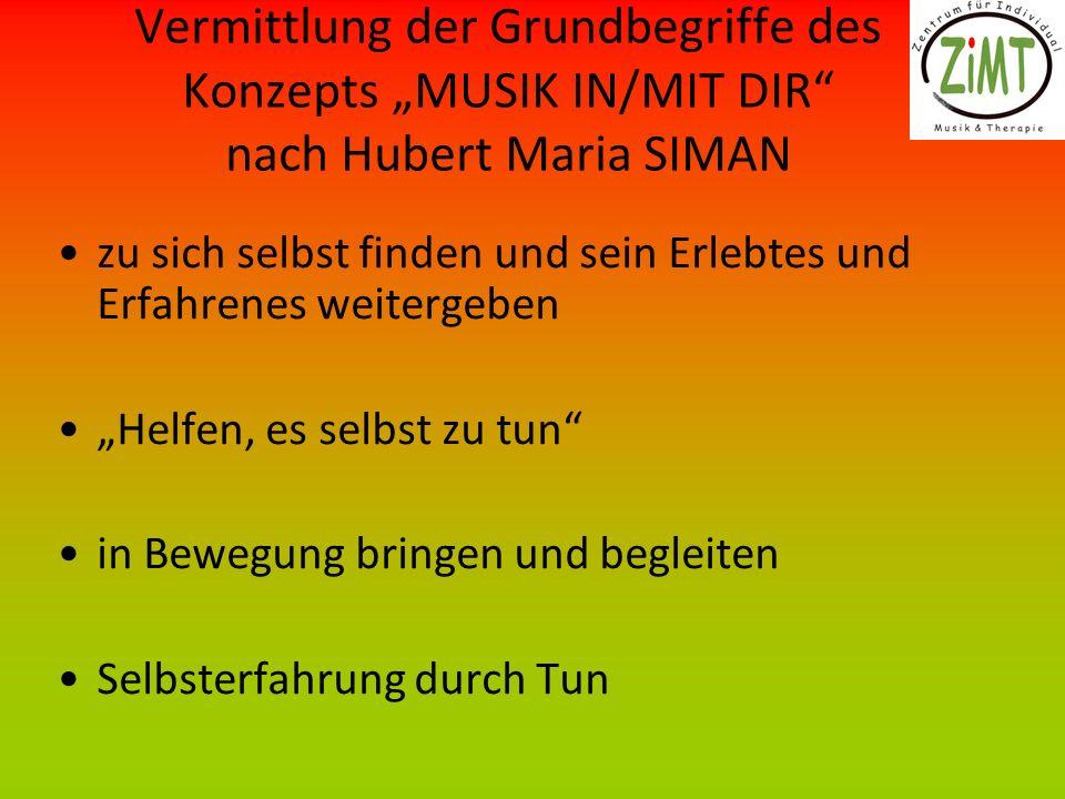 """Vermittlung der Grundbegriffe des Konzepts """"MUSIK IN/MIT DIR nach Hubert Maria SIMAN"""
