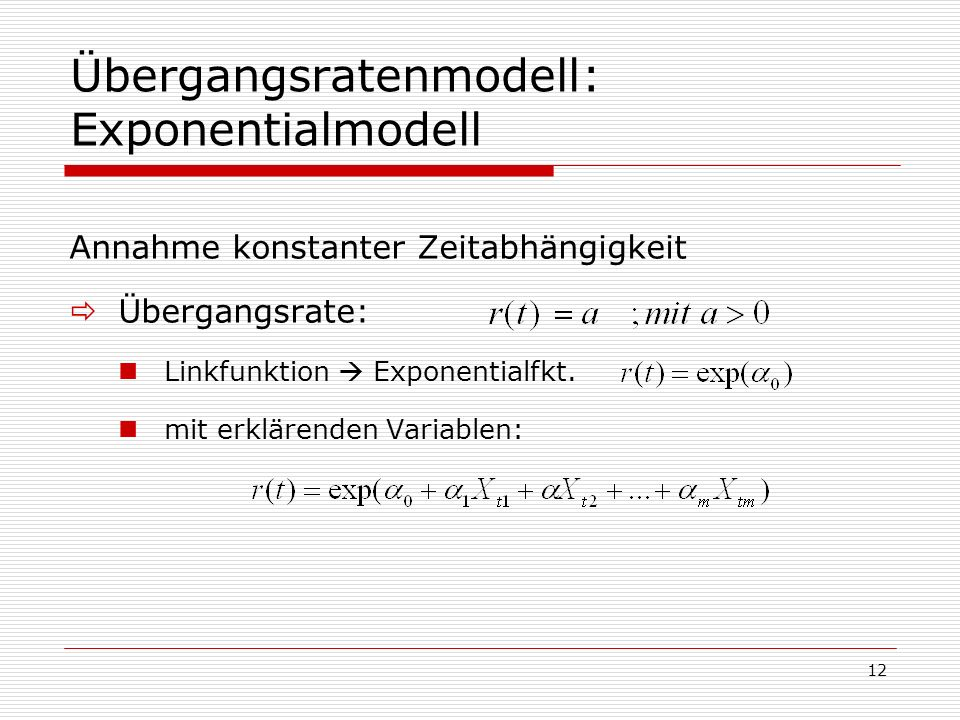 Übergangsratenmodell: Exponentialmodell