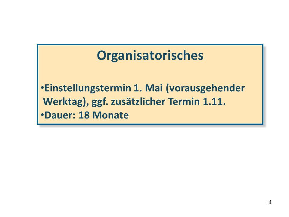 Organisatorisches Einstellungstermin 1. Mai (vorausgehender
