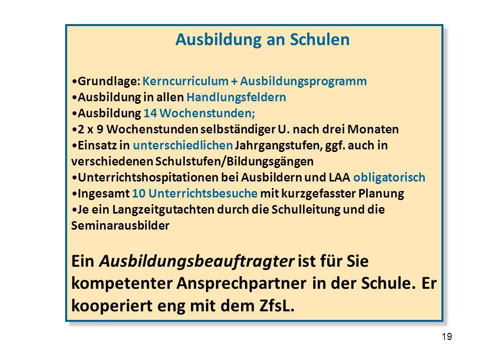 3. … die Details Ausbildung an Schulen. Grundlage: Kerncurriculum + Ausbildungsprogramm. Ausbildung in allen Handlungsfeldern.