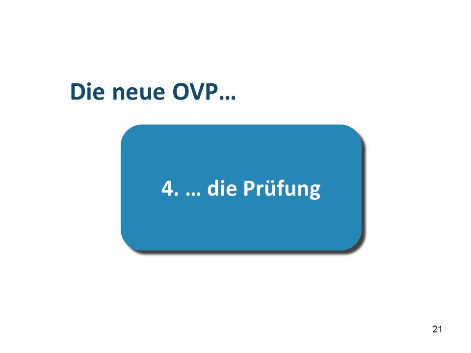 …die Prüfung Die neue OVP… 4. … die Prüfung 21