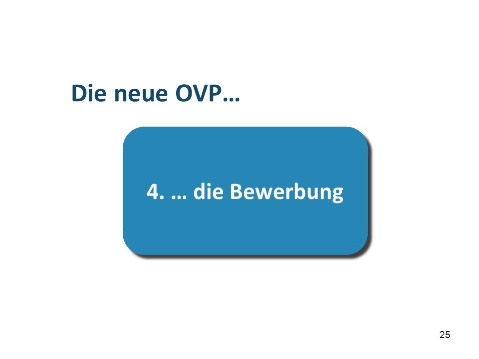 …die Prüfung Die neue OVP… 4. … die Bewerbung 25