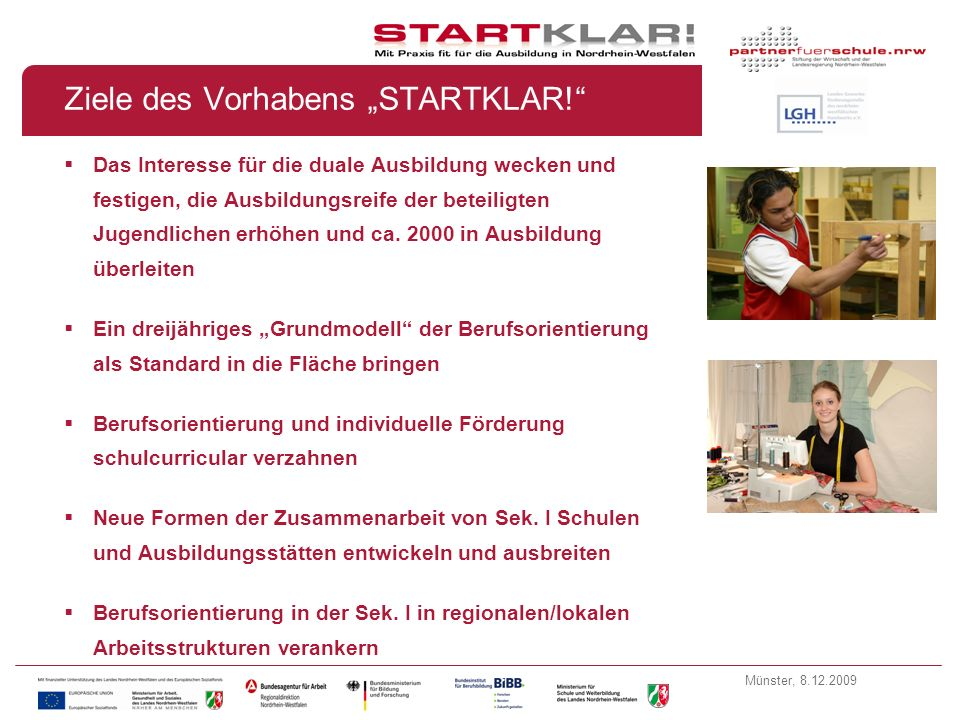 """Ziele des Vorhabens """"STARTKLAR!"""