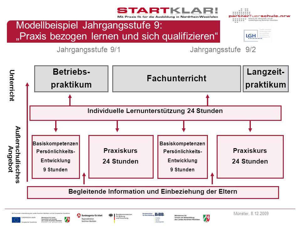 """Modellbeispiel Jahrgangsstufe 9: """"Praxis bezogen lernen und sich qualifizieren"""