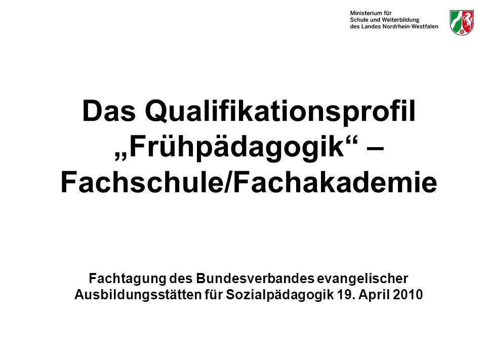 """Das Qualifikationsprofil """"Frühpädagogik – Fachschule/Fachakademie Fachtagung des Bundesverbandes evangelischer Ausbildungsstätten für Sozialpädagogik 19."""