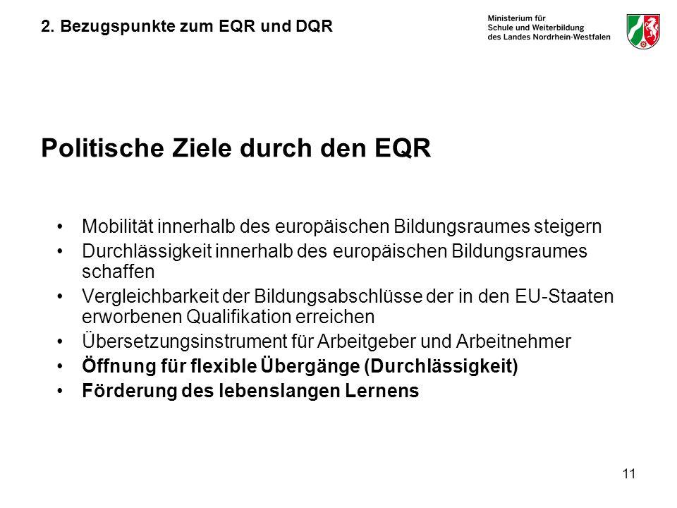 2. Bezugspunkte zum EQR und DQR Politische Ziele durch den EQR