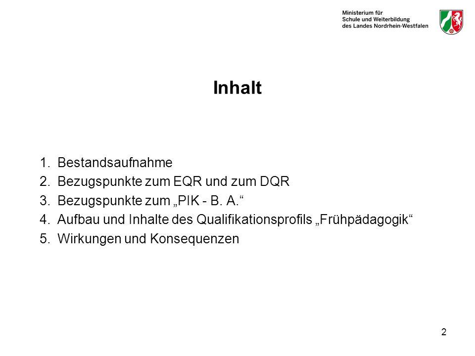 Inhalt 1. Bestandsaufnahme 2. Bezugspunkte zum EQR und zum DQR