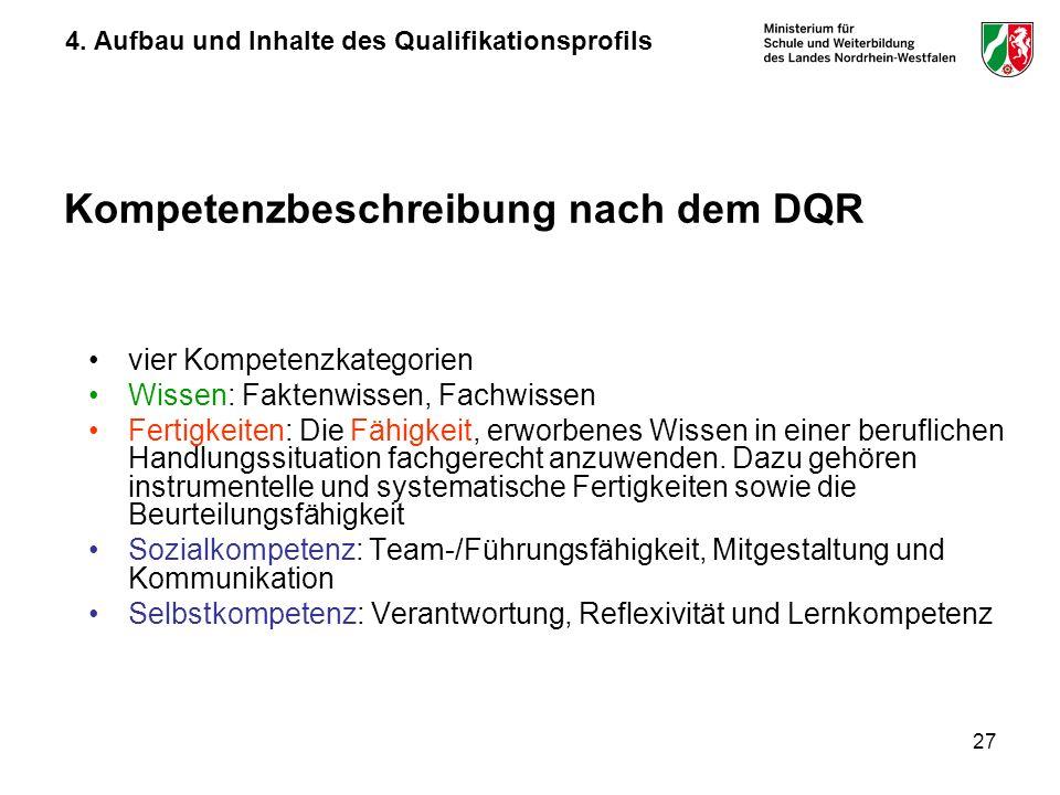 Kompetenzbeschreibung nach dem DQR