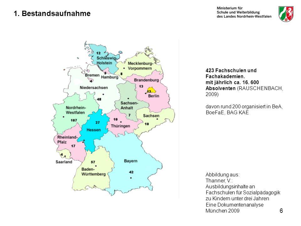 Karte zeigt die Anzahl und Verteilung der Fachschulen.