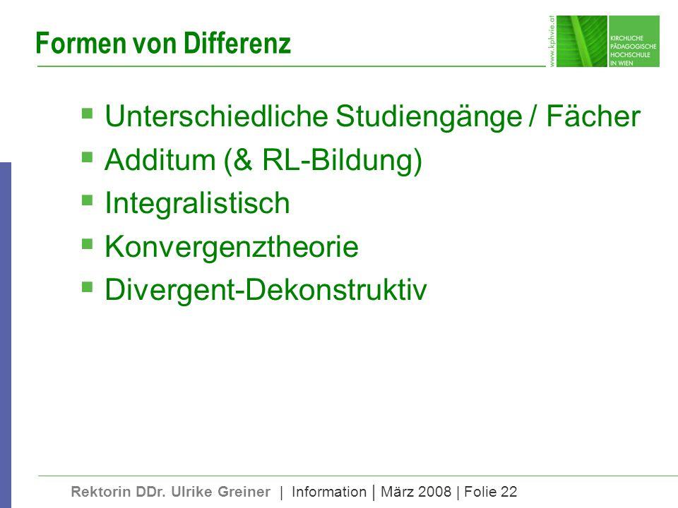Formen von Differenz Unterschiedliche Studiengänge / Fächer